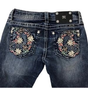 Miss Me Hot Hippie Peace Sign Skinny Jeans